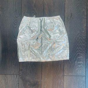 Boohoo Metallic Mini Skirt